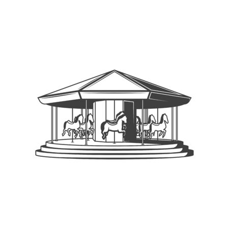 Retro carousel with horses isolated merry-go-round attraction. Vector wooden ponies moving around