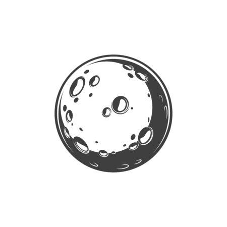 Krater und Unebenheiten auf dem isolierten Globus des Mondplaneten. Vektor-Mondoberfläche mit Löchern