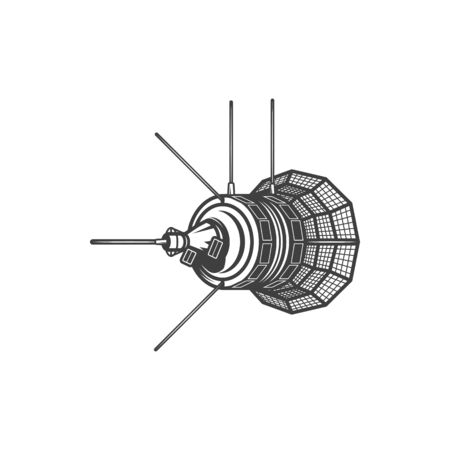 Satellite orbiter isolated object orbiting Earth or Moon. Vector international spaceship or spacelab
