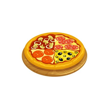 Quattro Stagioni isolated round Italian pizza on wooden board. Vector four seasons pizza, prepared in four sections, represents one season of year. Italy cuisine food with diverse ingredients Illustration