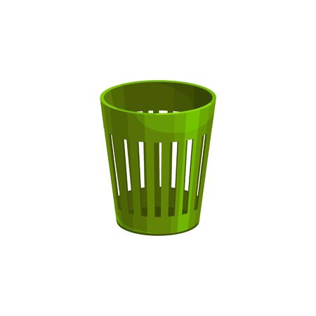Trash can isolated rubbish bucket, waist bin. Vector garbage container, in-house bin or office basket bin. Green rubbish bucket, trashcan to put paper ejection. Wastebasket or wastepaper bin