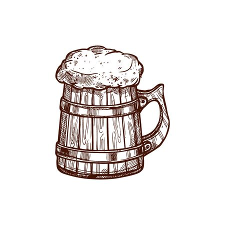 Mug of frosty dark light beer isolated monochrome icon, sketch style. Vector light or dark ale in lager, wooden glass with handle, brewery product. Oktoberfest holiday symbol, cider beverage with foam