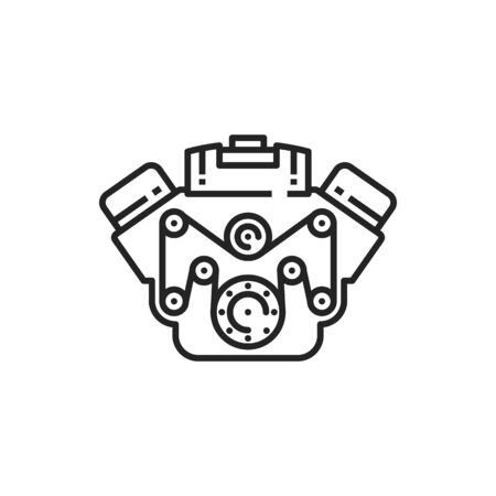 Car engine vector thin line icon. Vehicle motor and automotive engine sign