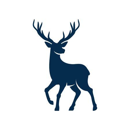 Buck reindeer animal isolated hunting sport mascot. Vector silhouette of reindeer, elk or buck, wildlife creature with wavy horns. North stag-deer with antlers, horned mammal full length portrait