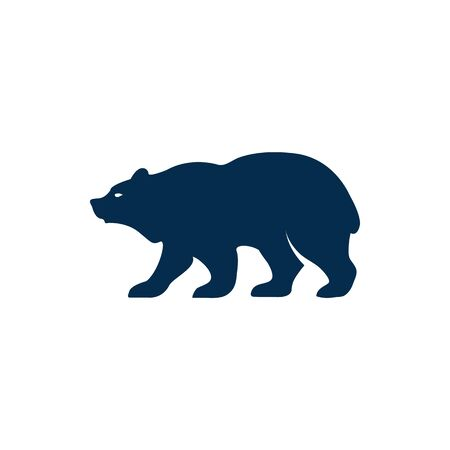 Bear standing on four paws isolated wild animal. Vector siberian or american, grizzly or polar bears mascot, ursus predator mammal. Side view of wildlife big beast, silhouette of bear animal