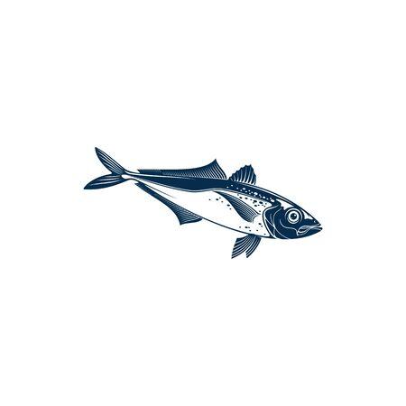 Horse mackarel with flounders, mackerel fishing sport emblem isolated bluefish mascot. Vector Scombridae saltwater fish, bluefin tuna. Aquatic animal, atlantic tuna bluefish, sardine or scombridae Vector Illustration