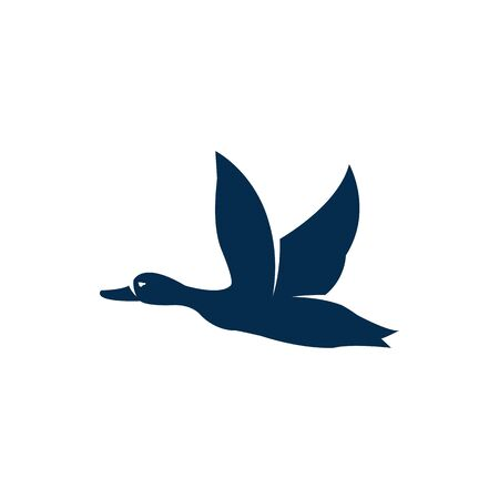 Flying wild duck isolated bird in flight silhouette. Vector geese in flight, poultry animal with bill and beak, goose migratory duck with pintail. Black wild goose tattoo design, one waterbird in fly