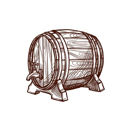 Wooden oak keg with wine or beer isolated container monochrome sketch. Vector barrel with tap or faucet, alcohol drinks keg. Tank with winery products, retro container on wood stand, oak cask