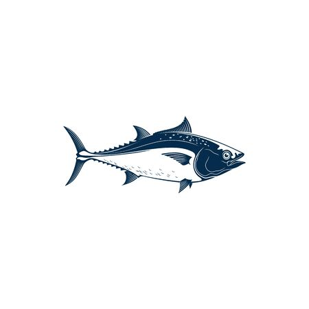 Bluefin tuna, blackfin longtail yellowfin, fishing sport mascot isolated. Vector tuna saltwater fish icon. Tunny, tribe Thunnini, Scombridae mackerel. Large and active predatory schooling fish