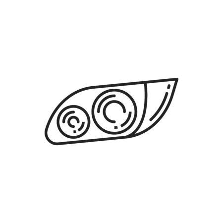 Car headlamp vector thin line icon. Automotive parts and vehicle headlight symbol Vektorgrafik