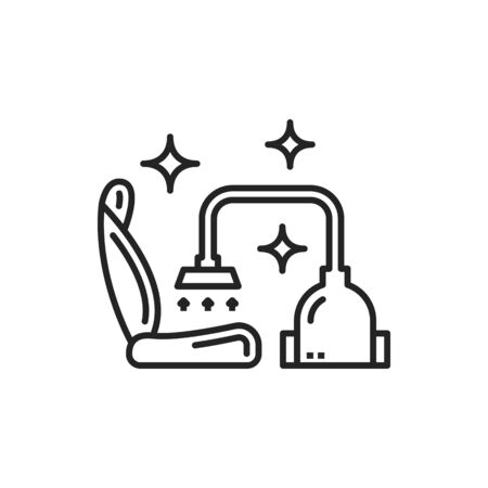 Car seat cleaning vector thin line icon. Vehicle seat upholstery dry wash service Ilustracje wektorowe