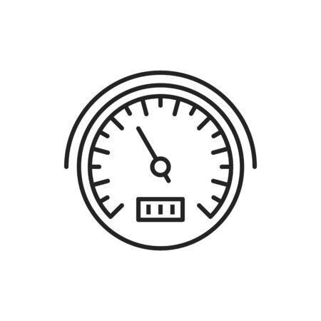 Speedometer vector line icon. Car tachometer, engine temperature or fuel indicator gauge