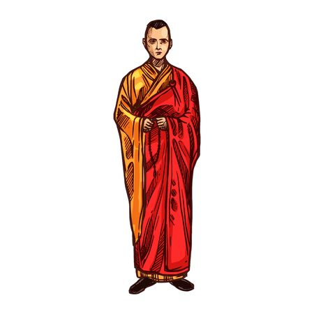 Buddhist monk with prayer beads vector sketch icon. Buddhism meditation and religion