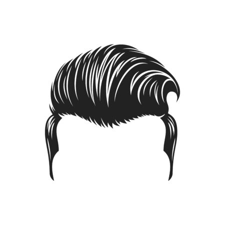 Retro male hair style isolated monochrome icon. Vector hipster head with old hairdo template, barbershop salon trendy haircut mockup. Ma mohawk hairstyle, drawing handsome guy head coiffure, headdress