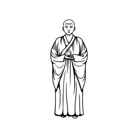 Buddhist monk, full height monastery frier, vector Buddhism bold monastic in gown, religion meditating prayer in asian religion and culture, monochrome illustration
