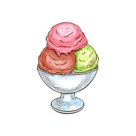 Three ice cream balls in bowl isolated sketch. Vector glass container with strawberry, chocolate, phistachio or mint icecream, sweet summer dessert. Homemade creamy Italian gelato frozen sundae yogurt