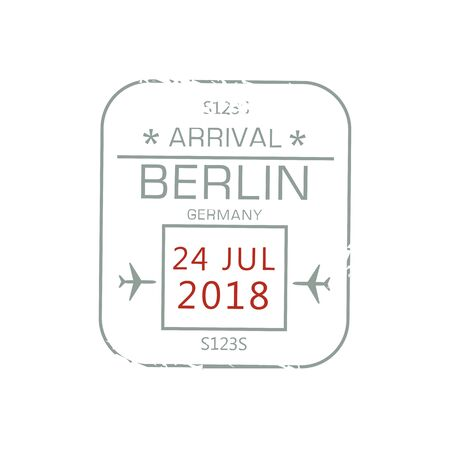 Berlin arrival visa stamp isolated sign of border control in passport. Vector grunge German country immigration sign with date and airplanes, international airport label, air post graphic stamp