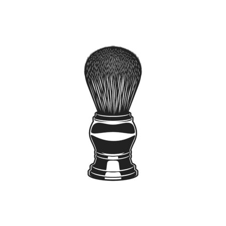 Retro shaving brush with raccoon fur isolated monochrome icon. Vector old wooden barber tool to apply cream, barbershop item. Small shave brush with handle and bristles used to make lather from soap
