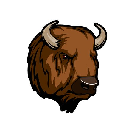 Bison head portrait isolated furry buffalo trophy muzzle. Vector wild animal face with horns, hunting sport mascot. American or European bison wisent, wild nature symbol. Profile view of brown bison