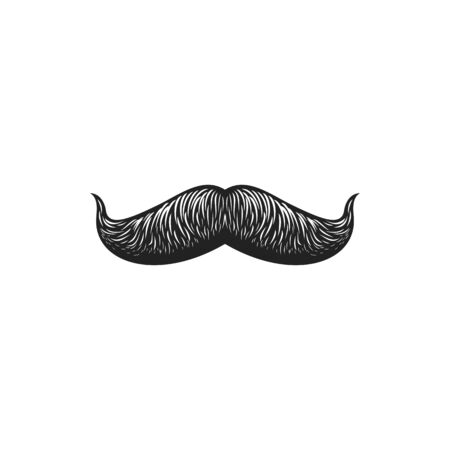 Mustaches symbol of moustache day isolated monochrome icon. Vector moustaches with curved upper ends, barbershop hairstyle. Male facial hair, irish gentleman whiskers hand drawn sketch, fake moustaches