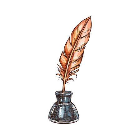 Inkstand with quill pen isolated retro writing tool sketch. Vector old stationary accessory, tightly-capped inkwell with feather pen. Old-fashioned instrument to write poems, poetry concept Ilustración de vector