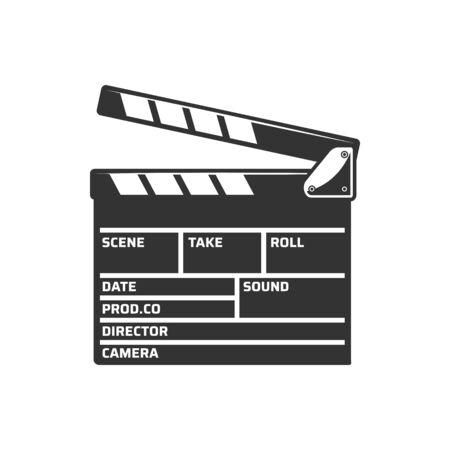 Cinema clapper board vector icon. Cinematography film movie producer clapperboard Vektorové ilustrace
