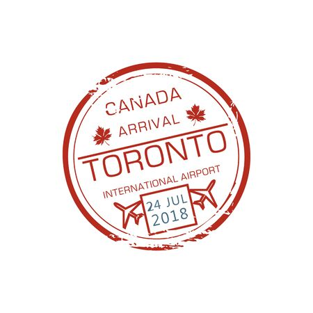 Toronto international airport visa stamp isolated grunge round ink seal. Vector Canada border control symbol, airplane and date on stamp at passport. Immigration sign, air post label with maple leaf