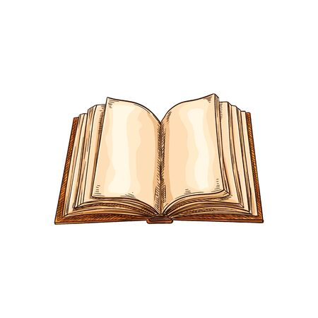 Book with blank pages in hard cover isolated sketch. Vector empty pages of textbook, aged literature, sign of library or bookshop. Notebook wisdom sign, science, literacy and knowledge concept