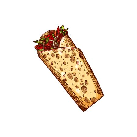 Burrito or tex mex fajita isolated filled tortilla hand drawn sketch. Vector kebab fast food snack, shawarma tex mex roll with meat, greens and vegetables. Takeaway fastfood snack, street food
