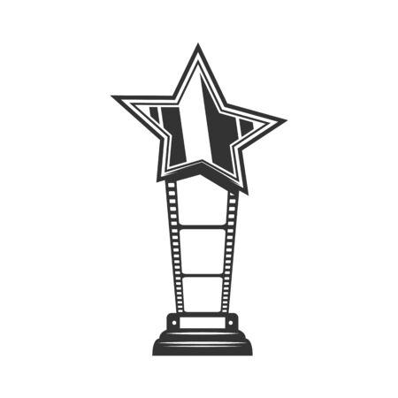 Cinema actor star award vector thin line icon. Movie and cinematography award