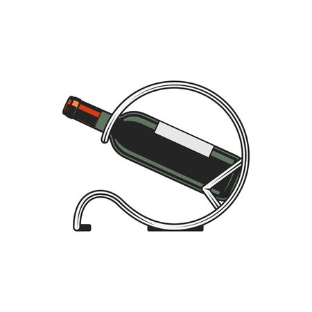 Wine bottle in metal holder, isolated winery shop and winemaking industry symbol. Vector bottle-holder