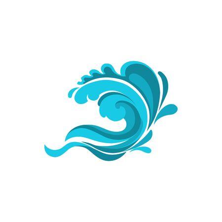 Les éclaboussures marines ont isolé la vague d'eau. Vagues de l'océan ou de la mer vectorielles, ruisseaux tourbillons de vent de surf
