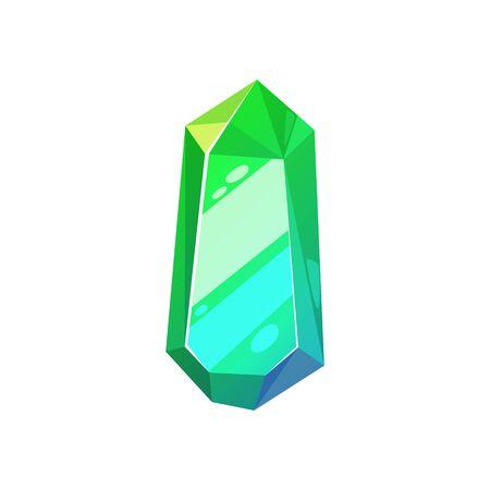 Crystal gemstone, vector isolated jewel gem. Green emerald jewelry crystal