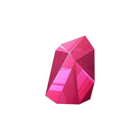Red gem, crystal gemstone, vector jewel. Ruby, jewelry crystal, purple rhinestone Vector Illustratie