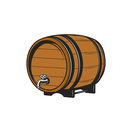 Wooden oak keg with wine or beer isolated monochrome container. Vector barrel with tap