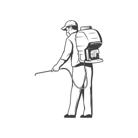 Pest control service, professional disinsection and bugs extermination vector icon, man in overalls, respirator mask, balloon and pipe in hand fumigation and disinsection of parasites