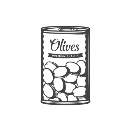 Canned olives in metal pack isolated marinated preserved food. Vector green olive fruits in tin