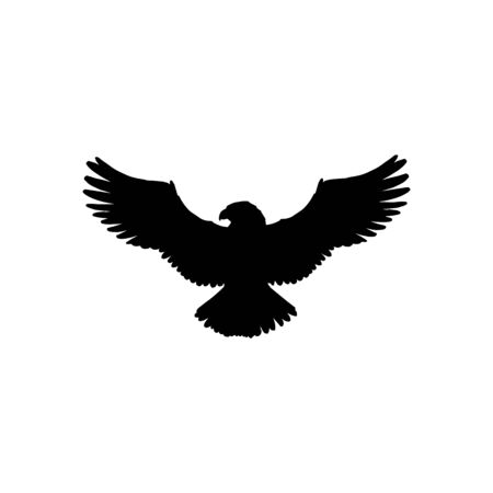 Eagle with wide spread wings isolated falcon bird silhouette. Vector hawk in fight, falconry mascot