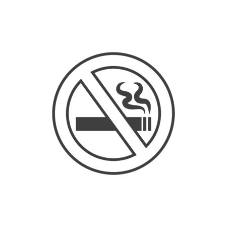 No smoking sign crossed cigarette isolated monochrome symbol. Vector forbidden to smoke in this area