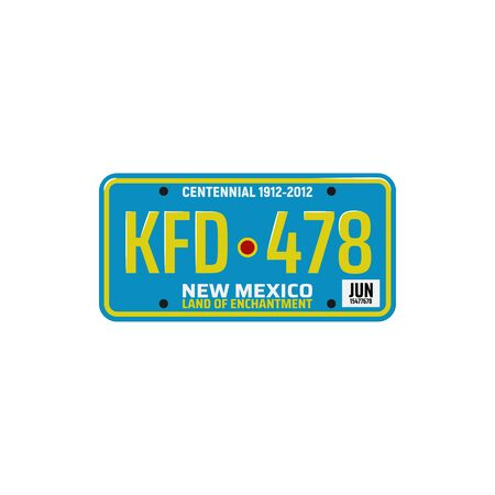 New Mexico car number plate isolated. Vector vehicle registration sign, automobile license