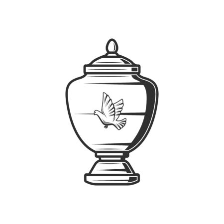 Porcelain ash urn with dove silhouette isolated funeral jar. Vector columbarium container Vecteurs