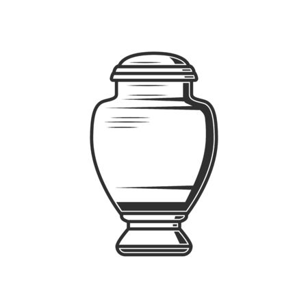 Urn with ash isolated antique box with human dust. Vector monochrome funeral vase Vettoriali