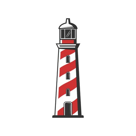 Beacon tower isolated marine building, navigation symbol. Vector searchlight construction in red and white