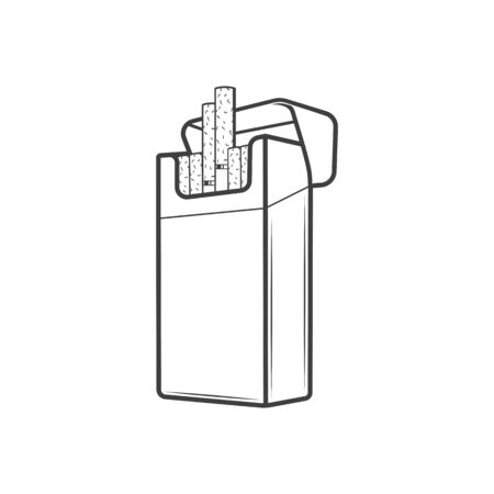 Cigarette pack icon isolated box with tobacco cigars. Vector unlabeled packaging, smoking addiction