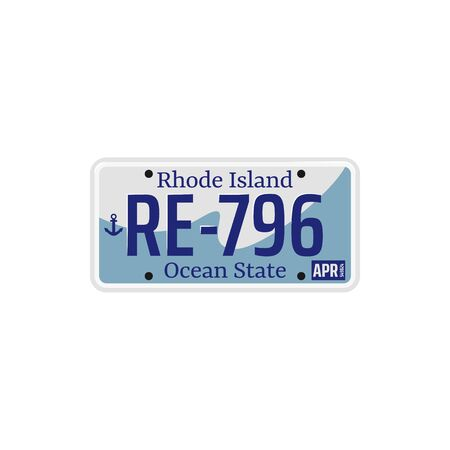Rhode Island ocean USA state isolated car registration number. Vector vehicle plate with figures, license template
