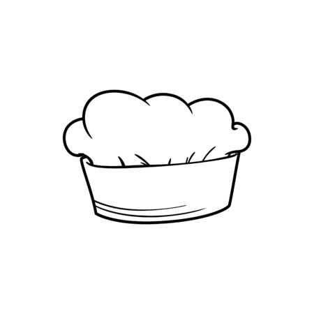 Baker hat isolated outline icon. Vector linear chefs cap, kitchener headdress
