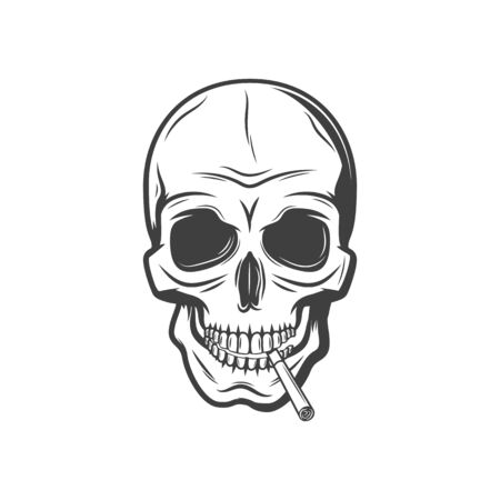 Skull with cigarette isolated harmful habit symbol. Vector deathful smoking addiction monochrome sign
