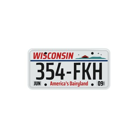 Wisconsin car registration plate isolated vehicle license. Vector America dairyland state number
