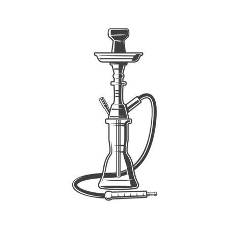 Hookah isolated smoking device. Vector monochrome vaporizing instrument, smoke tobacco with tube