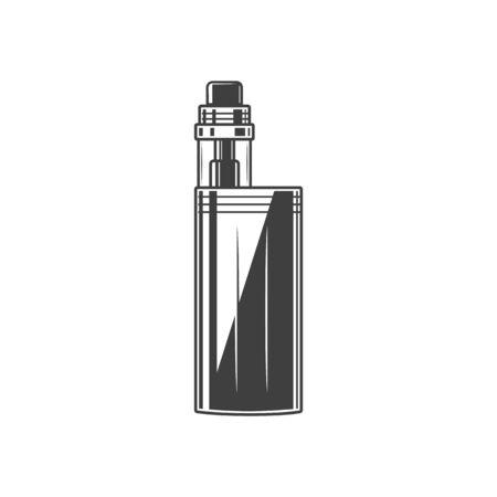 Vape box isolated electronic cigarette. Vector monochrome vaporizer, vape-pen mod device